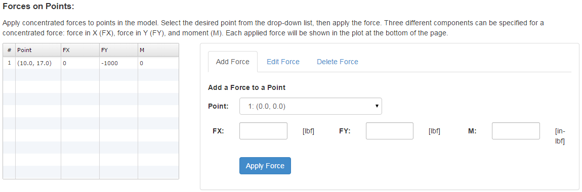Specify Point Forces