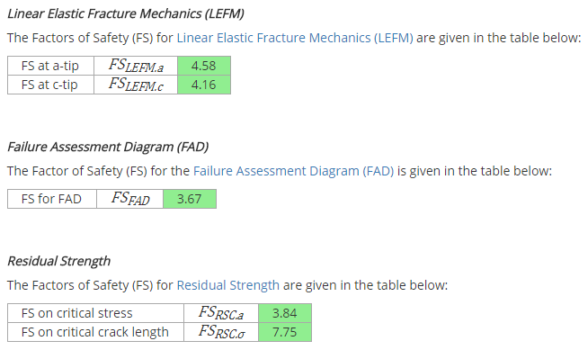 Fracture Mechanics Results Summary